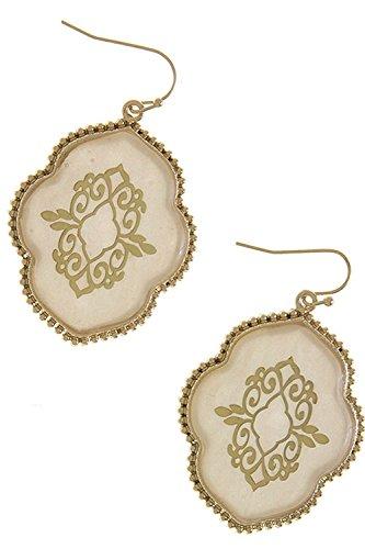Tahitian Costume Feathers (KARMAS CANVAS GOLD METAL BEAD FRAMED ORNATE DROP EARRINGS (Ivory))