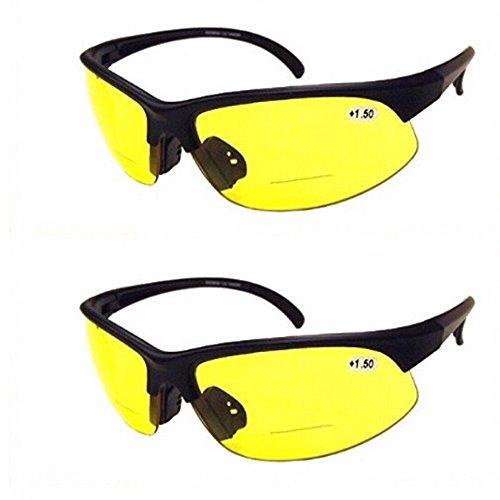2 Pair of Bifocal Half Rim Sports Style - Yellow/Yellow Lens - Glasses Driving Bifocal