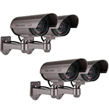 Kabalo 4 x Realistic Fake Dummy CCTV Security Camera Flashing Red LED Indoor Outdoor Silver