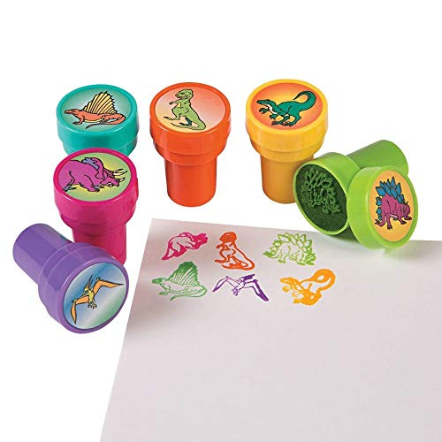 Dinosaur Stamps - Fun Express Set of 24 Assorted Colorful Dinosaur Stampers - Arts and Crafts Birthday Party Activity