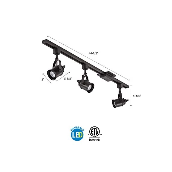 Lithonia Lighting LTKSPLT MR16GU10 2700K ORB M4 Adjustable 3 LED Spotlight Track Lighting Kit, 44.5-Inch, Oil-Rubbed Bronze, 300 Lumens, 120 Volts, 4 Watts, Dry Listed - ENERGY EFFICIENT - Uses energy efficient LED light bulbs to shine light on your desired area and save you money - provides 900 lumens DIMMABLE - Fully dimmable with compatible dimmer switches to create the perfect atmosphere ADJUSTABLE TRACK HEAD - Flexible track head can point almost anywhere - track heads rotate 350-degrees and has a 60-degree tilt - kitchen-dining-room-decor, kitchen-dining-room, chandeliers-lighting - 41DfdKURarL. SS570  -
