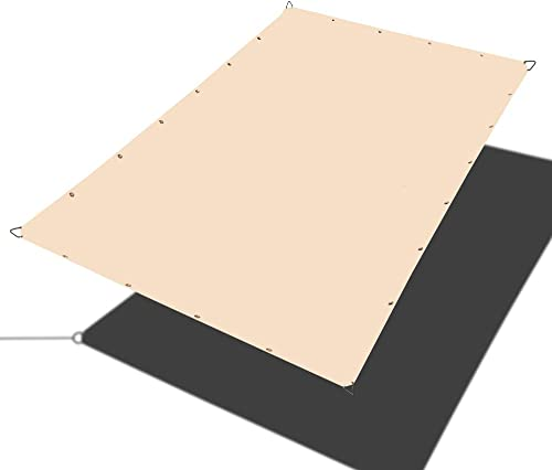 Alion Home Straight Edge Waterproof Woven Polyester Sun Shade Sail for Pergola Carport Awning Canopy Replacement 5×20 ft 2-Pack , Beige