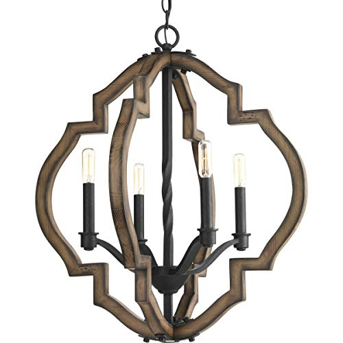 (Progress Lighting P4766-71 Spicewood Four-Light Chandelier, Gilded Iron)