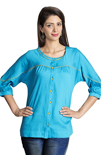 MOHR Women's Tunic Shirt with Three-Quarter Sleeves X-Large Mid Blue by MOHR - Colors of India
