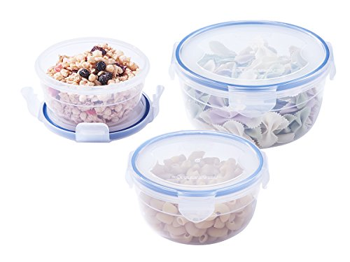 [3-Pack] Plastic Meal Prep Food Storage Containers (10.1+20.3+35.5oz), Round Mixing and Prep Bowls, BPA Free Airtight Snap Locking Lid, Freezer Microwave Safe -