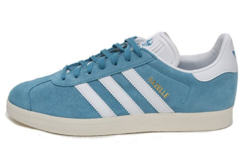 Adidas Originali Mens Gazelle Sneaker Acciaio Blu / Oro Metallizzato