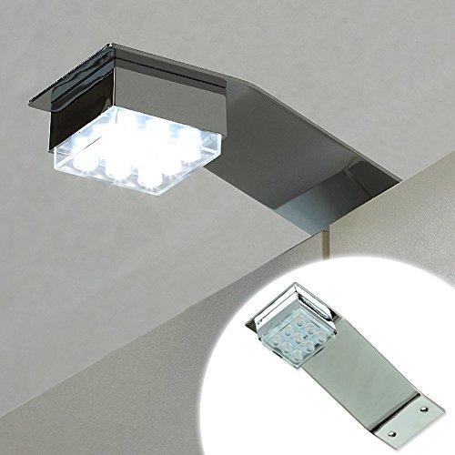 LED Küche Schranklampe Badeleuchte Möbelleuchte Chrom Poliert Kaltweiss IVO 1W 50lm! 230V 12V
