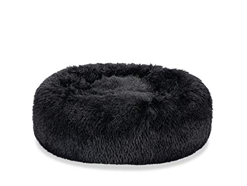 Puppy Bed for Small Medium Dog Soothing Dog Bed Calming, Anti-Anxiety Fluffy Deep Sleep Plush Bed with Bamboo Dog Cooling Mat Available