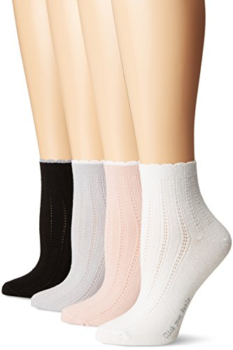 HUE Women's Scalloped Tipped Sock 4 Pack, Barely Pink, One Size (4-10)