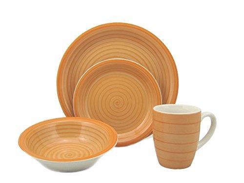 Lorren Home Trends 16-Piece Stoneware Dinnerware Set, Orange