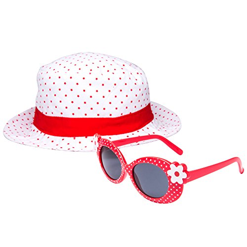 EYEGUARD UV400 Girl Cute Kids Sunglasses and Sun Hats Combo Children Beach Cap(5-12 years - Cute Girls For Glasses