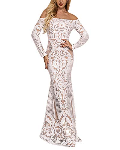 Yissang Women's Off Shoulder Floral Sequined Sparkle Party Evening Cocktail Mermaid Maxi Long Dress Prom Gowns White Small
