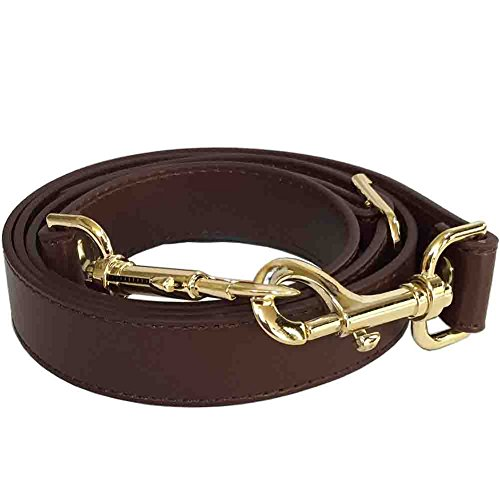 """1"""" Chocolate Brown Adjustable Replacement Cross Body Handbag Purse Strap with Brass Tone Hardware"""