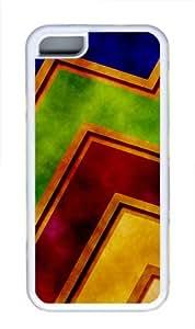 Grunge zigzag abstract Custom TPU Hard Plastic Case for iPhone 5C - White
