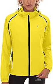 Little Donkey Andy Women's Quick-Dry Running Jacket, Convertible UPF 50+ Cycling Jacket Windbreaker with R