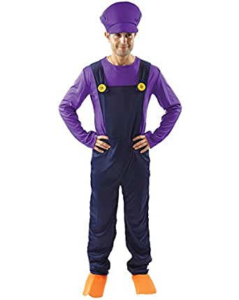 Adult Waluigi Super Mario Bad Plumbers Mate Fancy Dress Costume Outfit