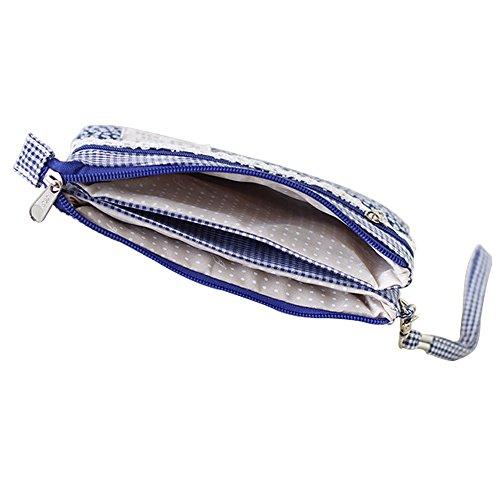 EDGEAM Dolce Cerniera Borsetta Floreale Frizioni Multistrato per le Signore e le Ragazze (plaid-floreale-blu marino)