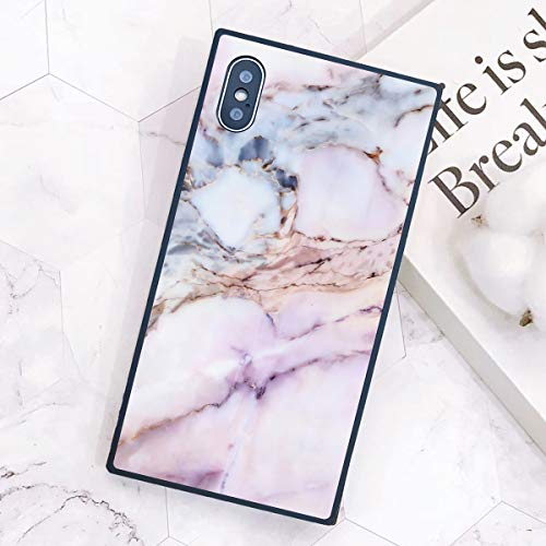 iPhone Xs Max Square Case, White and Pink Marble Pattern Soft TPU Classic Stylish Shockproof Anti-Scratch Back Cover Phone Casing Shell for iPhone Xs Max (6.5 Inch 2018)