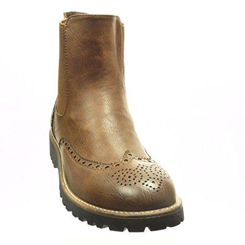 Angkorly - damen Schuhe Stiefeletten - Chelsea Boots - Hohe - Perforiert Blockabsatz 3 CM - Braun