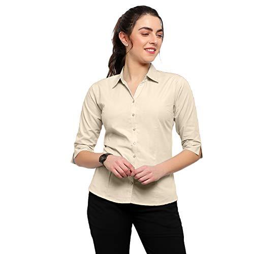Blue Ronin Cotton Regular Fit Formal/Casual Shirt for Women's Biege