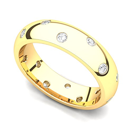 18k Yellow Gold Bezel set Diamond Semi Eternity Wedding Band Ring (G-H/SI, 0.42 ct.), 12