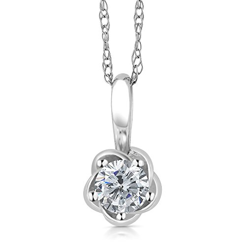 IGI Cetrified 0.15 Ct Round Diamond Flower Solitaire Pendant on 18'' Chain in 10K White Gold by Gem Stone King