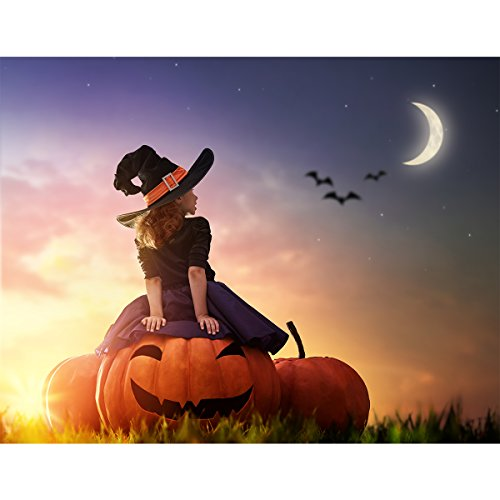 Allenjoy 7x5ft Photography Backdrop Background Happy Halloween Moon Night Carnival Big Pumpkin Witch Witchcraft Childhood Kids Girl Props Photo Studio Booth ()
