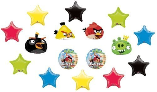 ANGRY BIRDS Game RED Yellow BLACK Green Pig (16) Party Mylar Balloon Set Decor