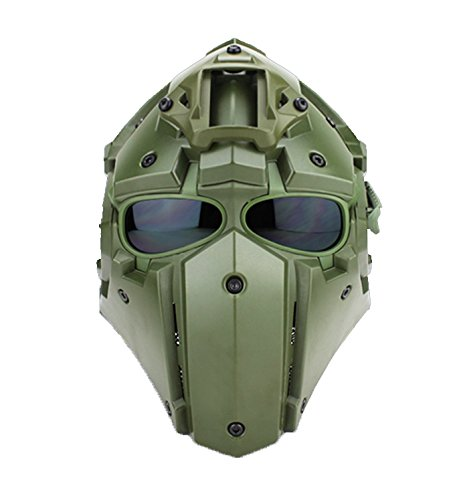 A&N Airsoft Tactical Helmet And Mask 2in1 Protective Gear Wiith NVG Shroud & Transfer Base Full Face Mask In Green