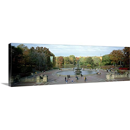 Manhattan Wall Fountain - Tourists in a Park Bethesda Fountain Central Park Manhattan New York City New York State Canvas.