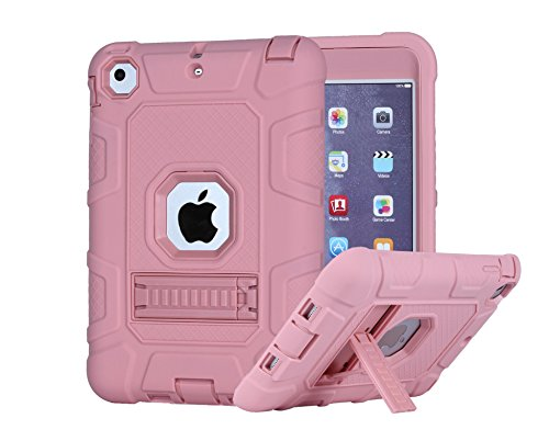 iPad Mini 2 Case,iPad Mini 3 Case,iPad Mini Case, SinYong-[Shockproof][Drop Protection][kickstand] Rugged Triple-Layer Defender Hybrid Case Cover for Apple iPad Mini 1&2&3 (Pink)
