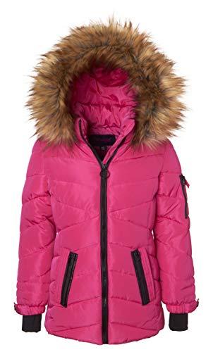 (Sportoli Girls' Heavy Quilt Lined Fashion Winter Jacket Coat Fur Trimmed Hood - Fuchsia (7/8) )