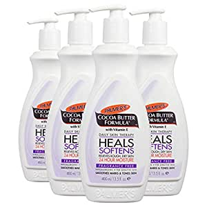 Palmer's Cocoa Butter Formula Daily Skin Therapy Body Lotion with Vitamin E, Fragrance Free | 13.5 Ounces (Pack of 4)