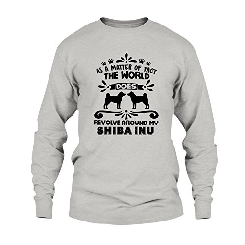 World Revolve Around My Shiba Inu Shirt  Tee Shirt  Clothing  Long Sleeve  Xxxl Ash