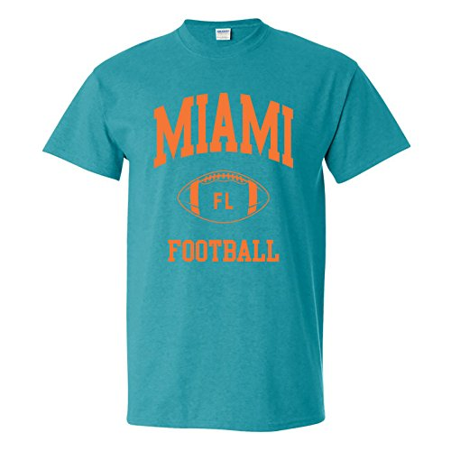 Dolphins Small Dolphins Miami (Miami Classic Football Arch Basic Cotton T-Shirt - Small - Antique Jade)