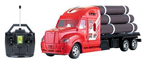 RC-Remote-Control-Semi-Truck-Tractor-Trailer-Flatbed-w-Logs