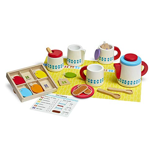Tea Set Toddler (Melissa & Doug  22-Piece Steep and Serve Wooden Tea Set - Play Food and Kitchen Accessories)