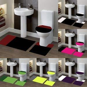 Florance Jones New Beautiful Bathroom Set Banded Bath MAT Countour Rug LID Cover #7 2 Tone | Style Mat-RG145302863