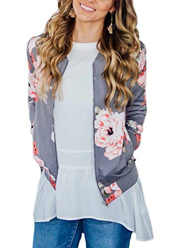 ZESICA Womens Long Sleeve Floral Print Classic Quilted Short Bomber Jacket with Pockets