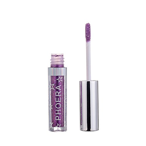 ✔ Hypothesis_X ☎ Glitter Liquid Eyeshadow -12 Colors Long Lasting Waterproof Sparkling Eyeliner Eye Shadow Set for Women Girl Purple (Kisses Lipstick Little Minerals)