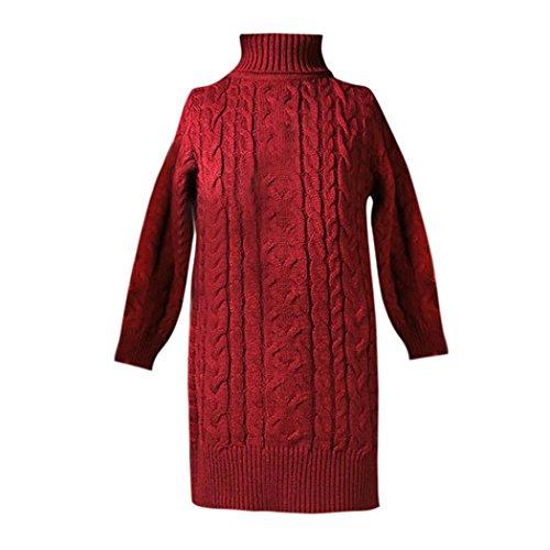 Girls Knitted Sweater Dresses, Inkach Toddler Baby Girls Winter Pullovers Crochet Dress Tops (Red, 7)