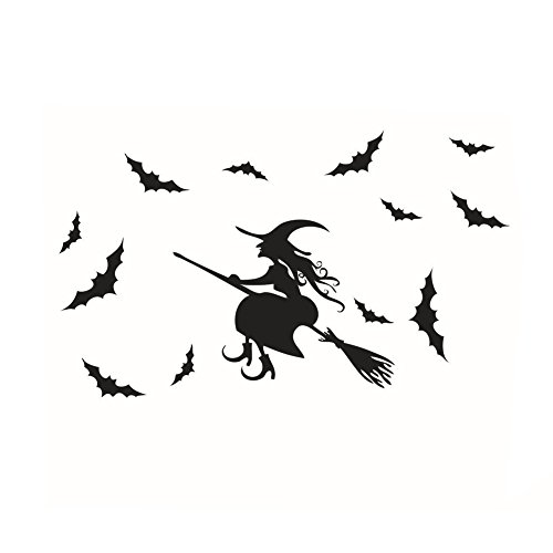 3PCS Halloween Wall Stickers Witch Bats Wall Sticker Wall Décor Home (Halloween Shops Online)