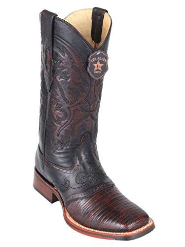 Men's Wide Square Toe w/Saddle Black Cherry Genuine Leather Lizard Teju Skin Western Boots -