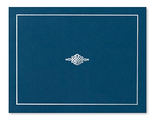 Blue Certificate Jacket with Silver Foil Crest, 10 Count by PaperDirect