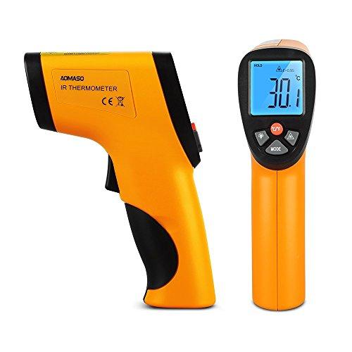 Aomsdo Infrarot Thermometer -50~380°C Kontaktlos Digital Laser IR, Batterie inklusive, Gelb/Schwarz