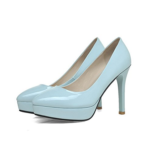 Pumps Bottom WeiPoot Rubber with Leather Closed Solid Women's Patent Stiletto and Blue Toe 1Y1aA