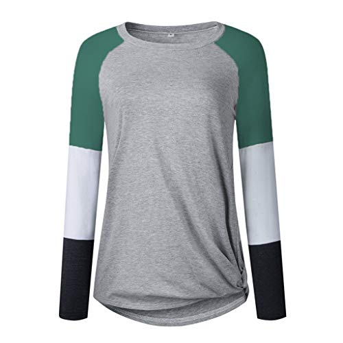 Lightweight Sweatshirts for Womens Long Sleeve Color Block Patchwork Casual Loose Tops Basic Tee T-Shirts Blouses(Green,S(US:6))]()
