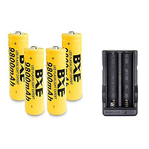 4x 18650 Battery 9800mAh 3.7V Li-ion Rechargeable Batteries Charger for Flashlight Headlights