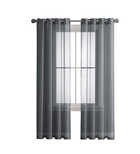 Grommet Semi-Sheer Curtains - 2 Pieces - Total Size 108 Inch Wide (54 Inch Each Panel) - 108 Inch Long - Panel Beautiful, Elegant, Natural Light Flow, Durable Material (54 W x 108 L, Charcoal)