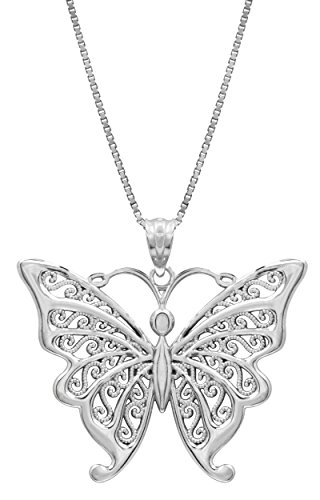 Honolulu Jewelry Company Sterling Silver Butterfly Necklace Pendant with Filigree Wings with 18